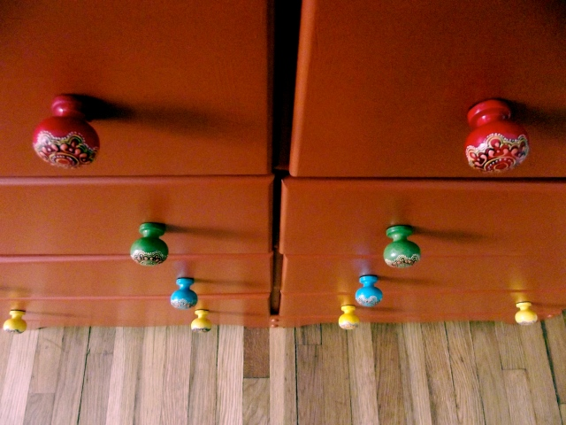 dresser knobs downward