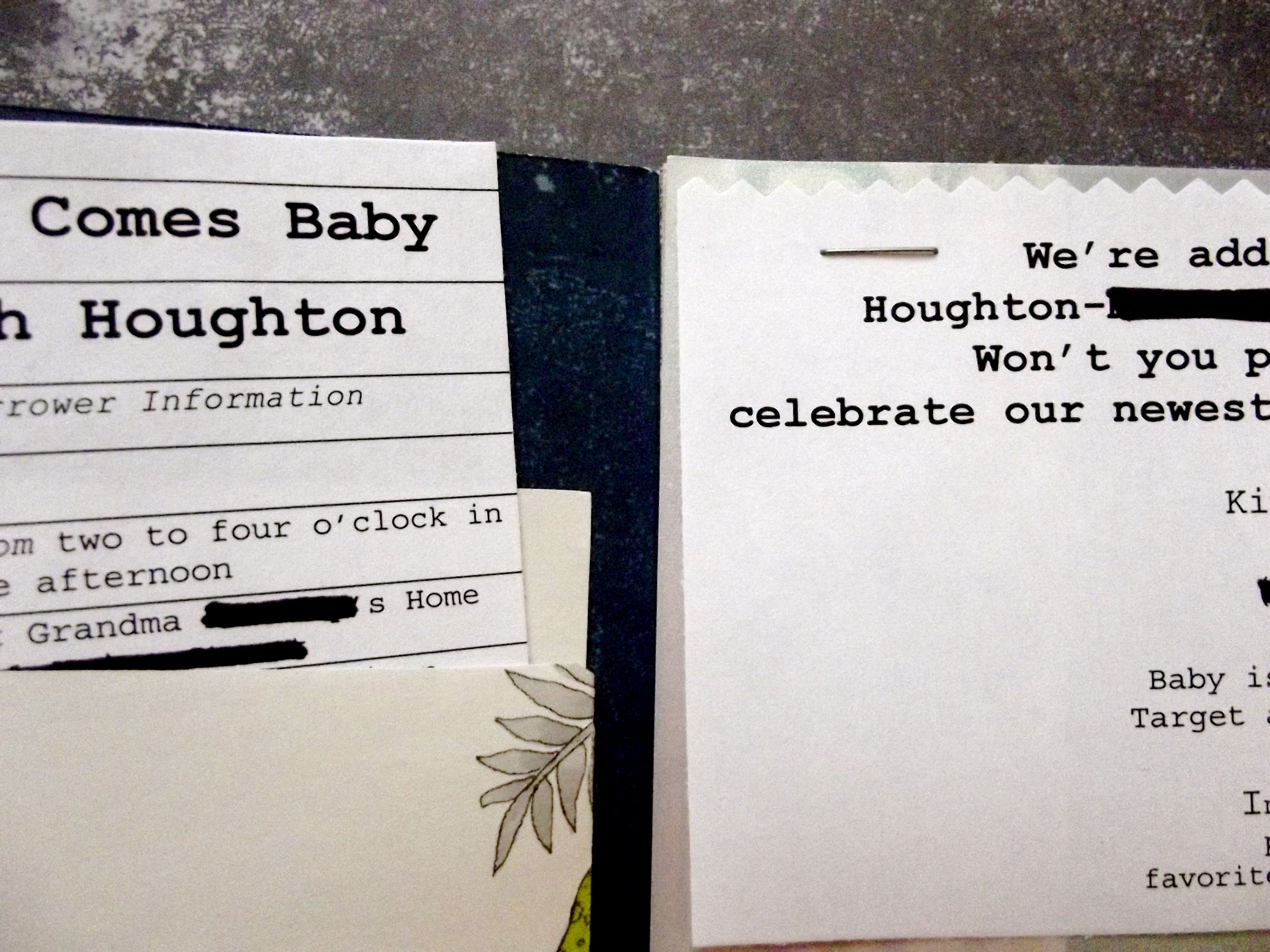 library card invitation baby shower
