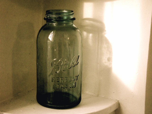one mason jar blue