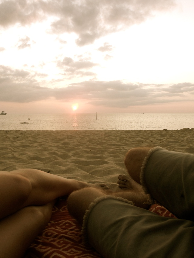 Our feet in the sand