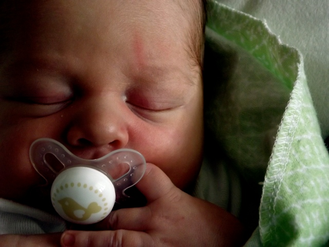 Gunner with his pacifier