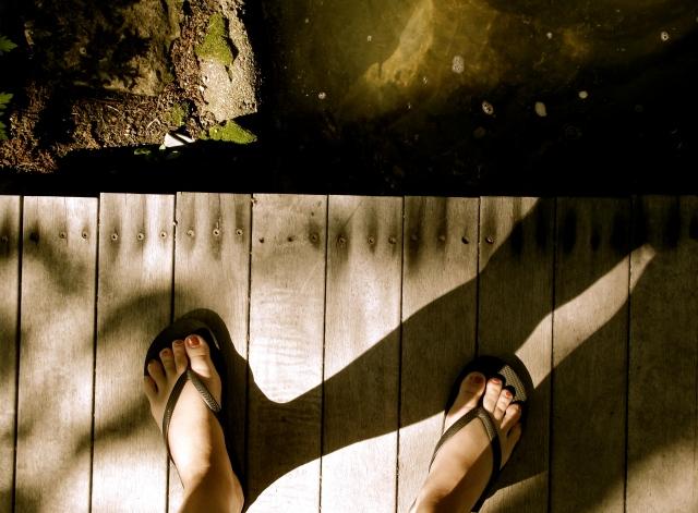 Feet on dock at homestead