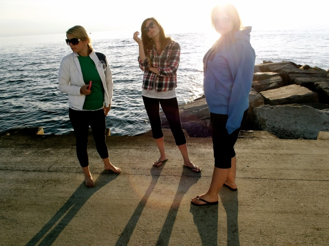 Three girls on pier