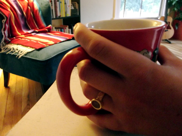 ring and coffee cup