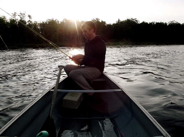Sean FIshing on Canoe at NWA