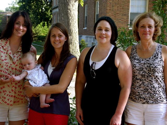 me, mom, sloane and sisters wedding dress day