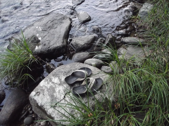 shoes by the river
